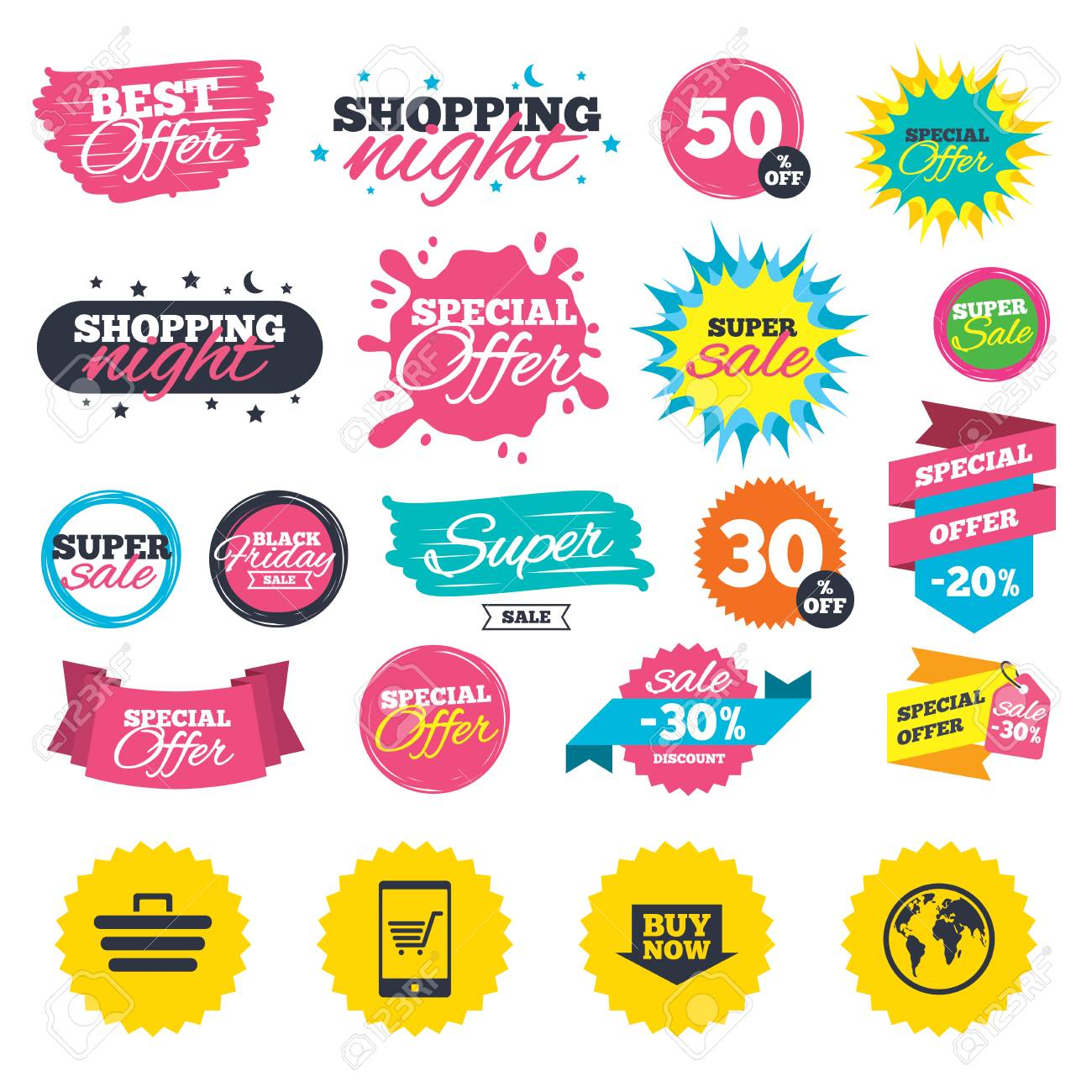 dbff5195f41689 Sale Shopping Banners. Online Shopping Icons. Smartphone