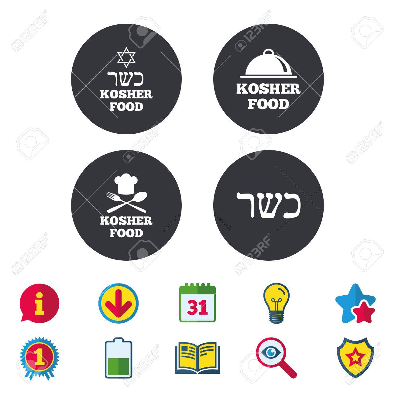 Kosher Food Product Icons Chef Hat With Fork And Spoon Sign