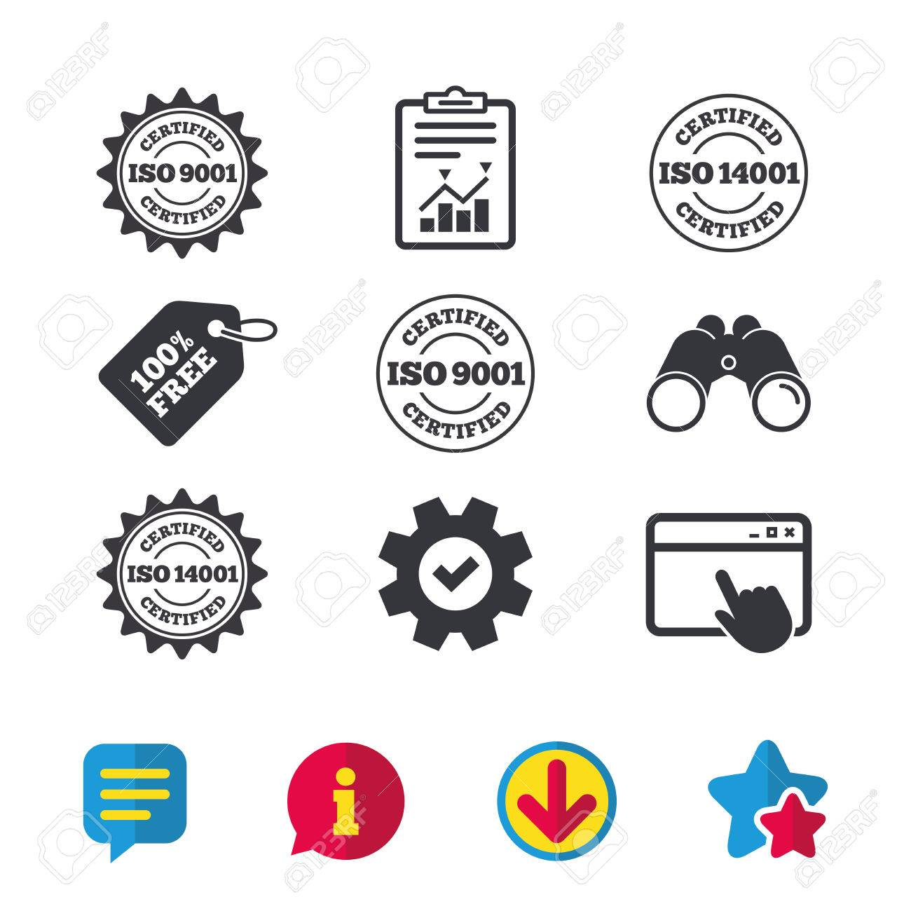 Iso 9001 And 14001 Certified Icons Certification Star Stamps