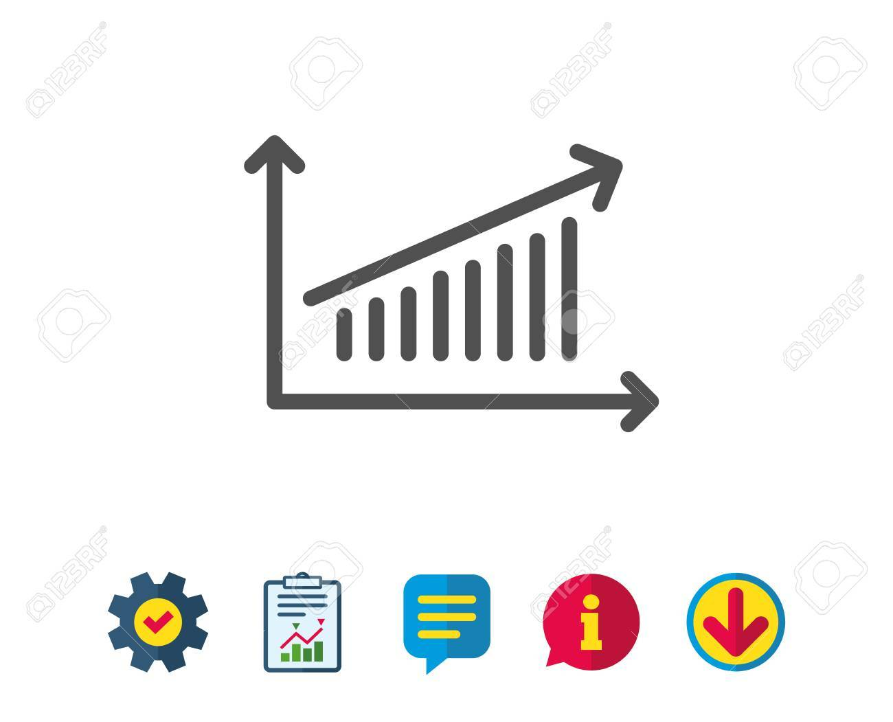 chart line icon. report graph or sales growth sign. analysis