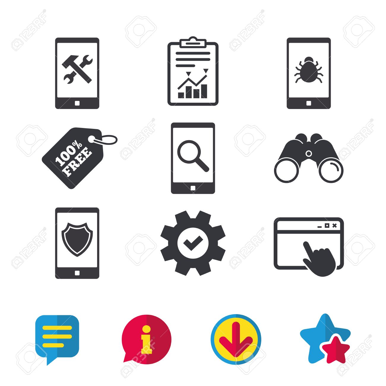 Smartphone icons  Shield protection, repair, software bug signs