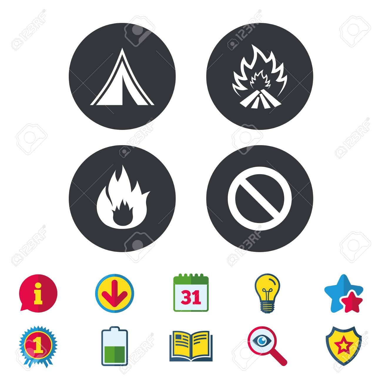 Tourist Camping Tent Icon Fire Flame And Stop Prohibition Sign