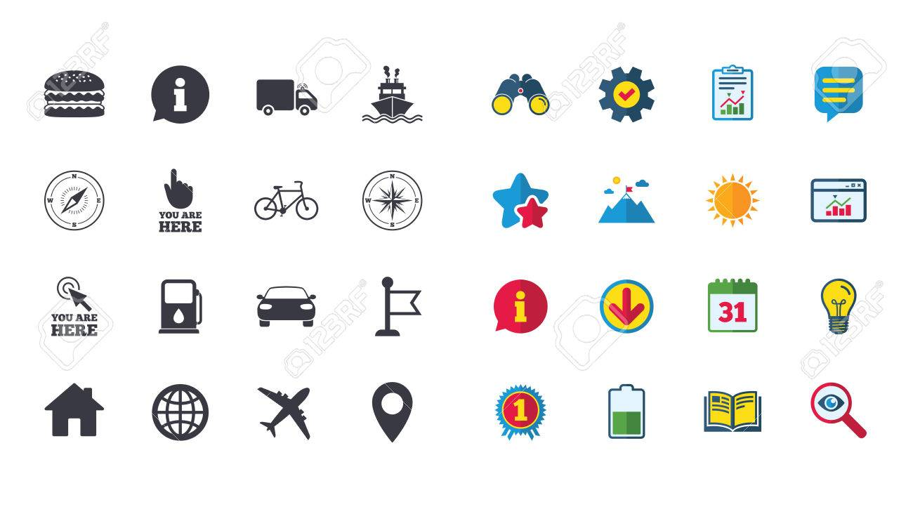 Set of navigation and gps icons windrose compass and burger set of navigation and gps icons windrose compass and burger signs bicycle biocorpaavc Gallery