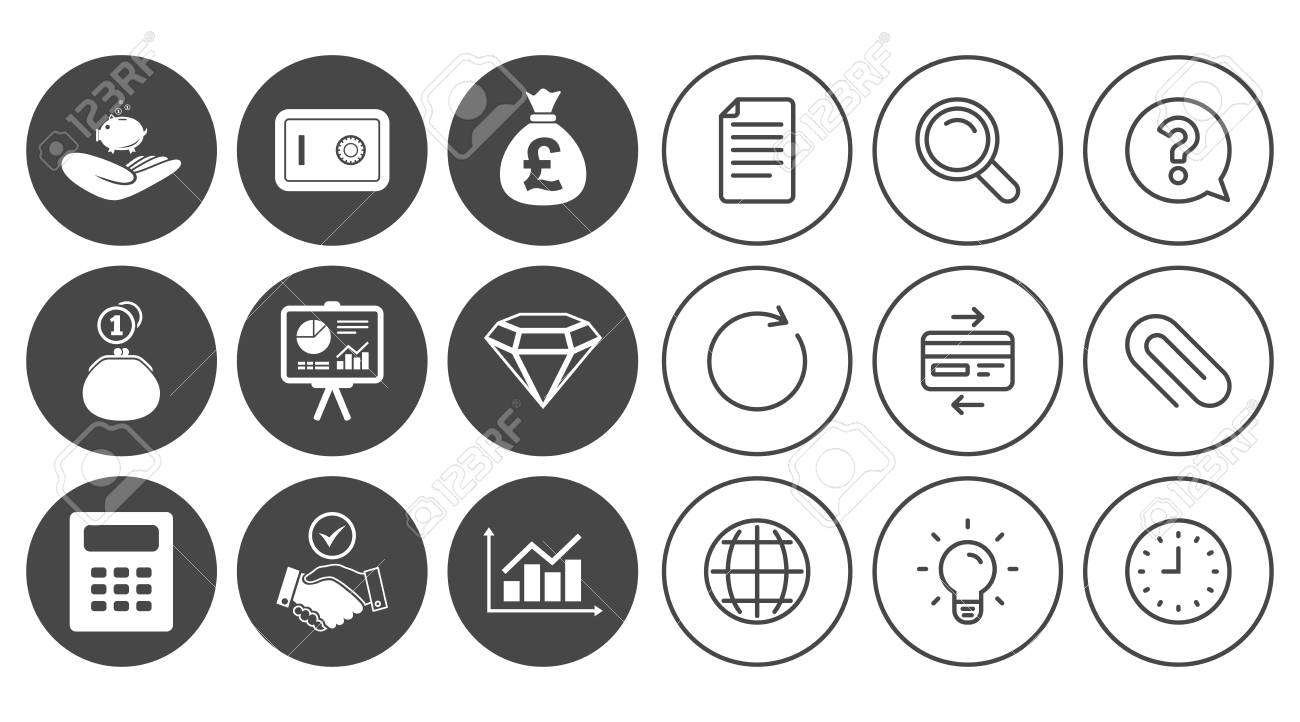 Money Cash And Finance Icons Handshake Safe And Calculator