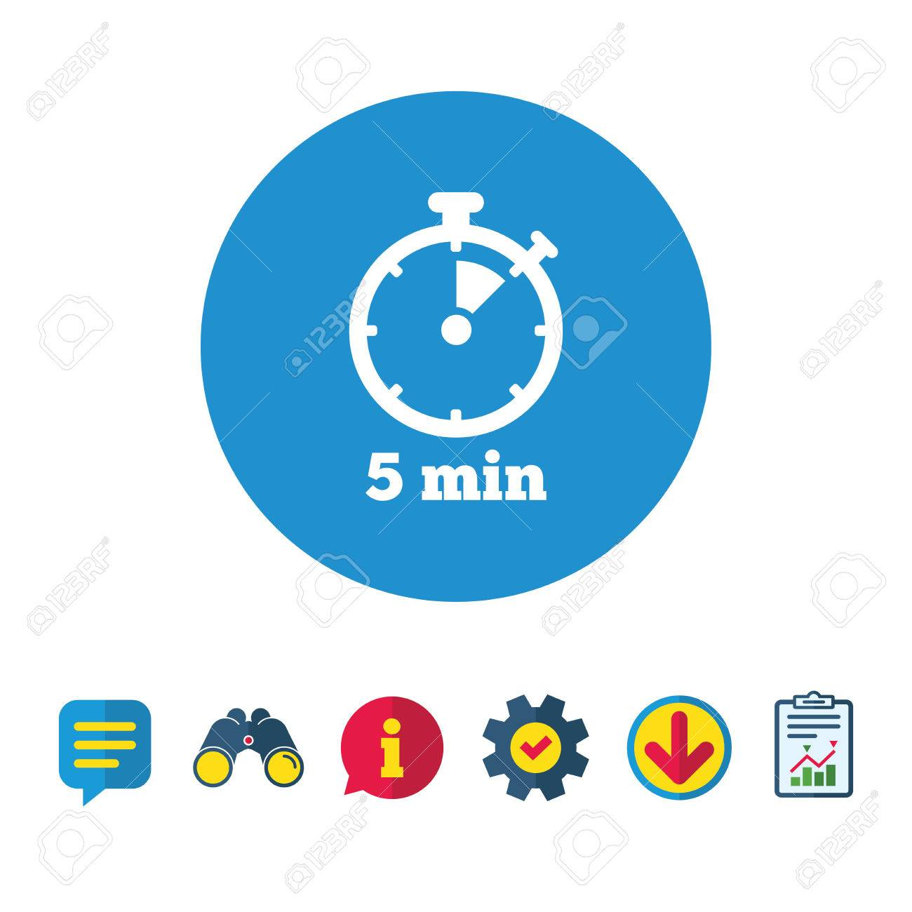 Timer sign icon 5 minutes stopwatch symbol information report vector timer sign icon 5 minutes stopwatch symbol information report and speech bubble signs publicscrutiny Image collections