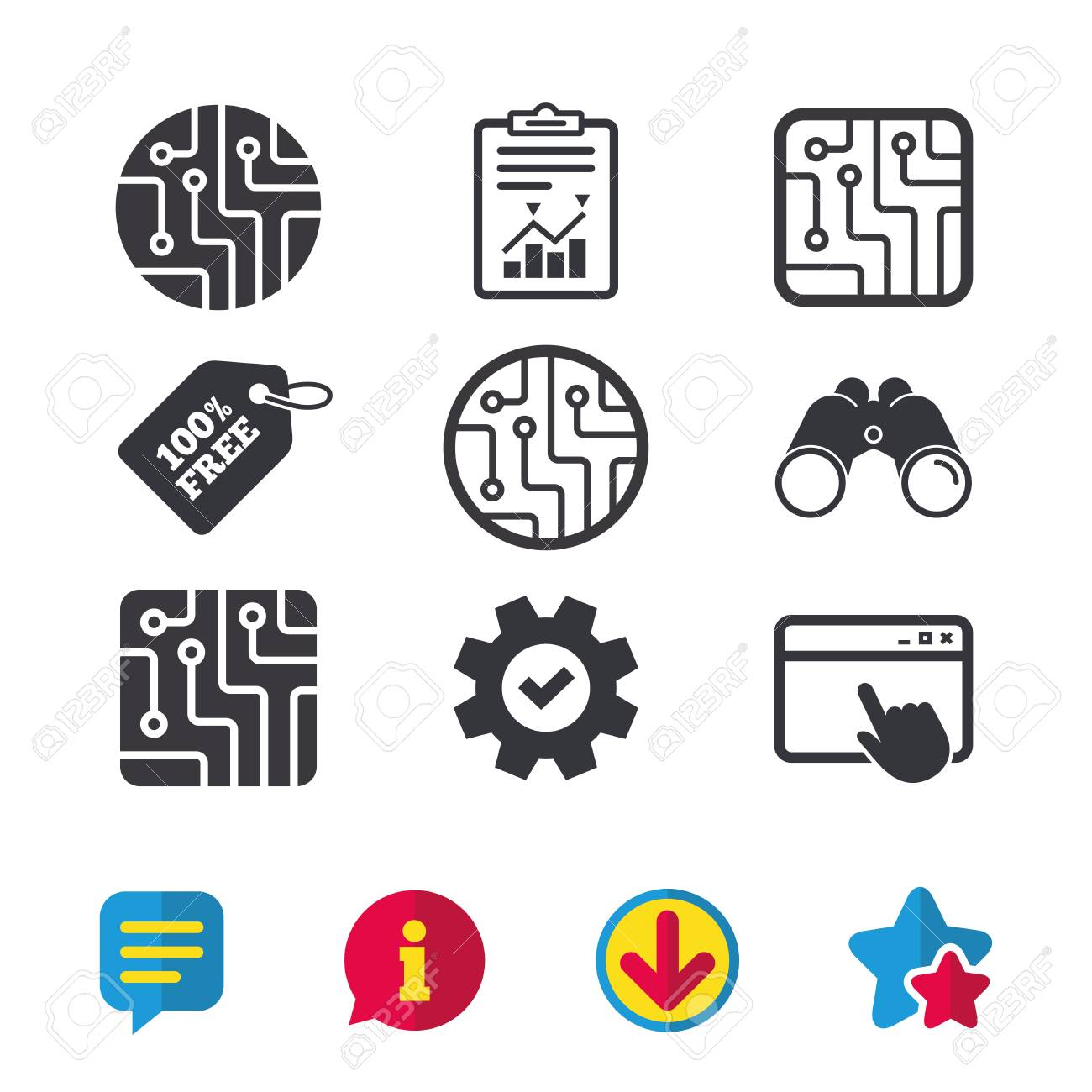 Circuit Board Icons. Technology Scheme Circles And Squares Sign ...