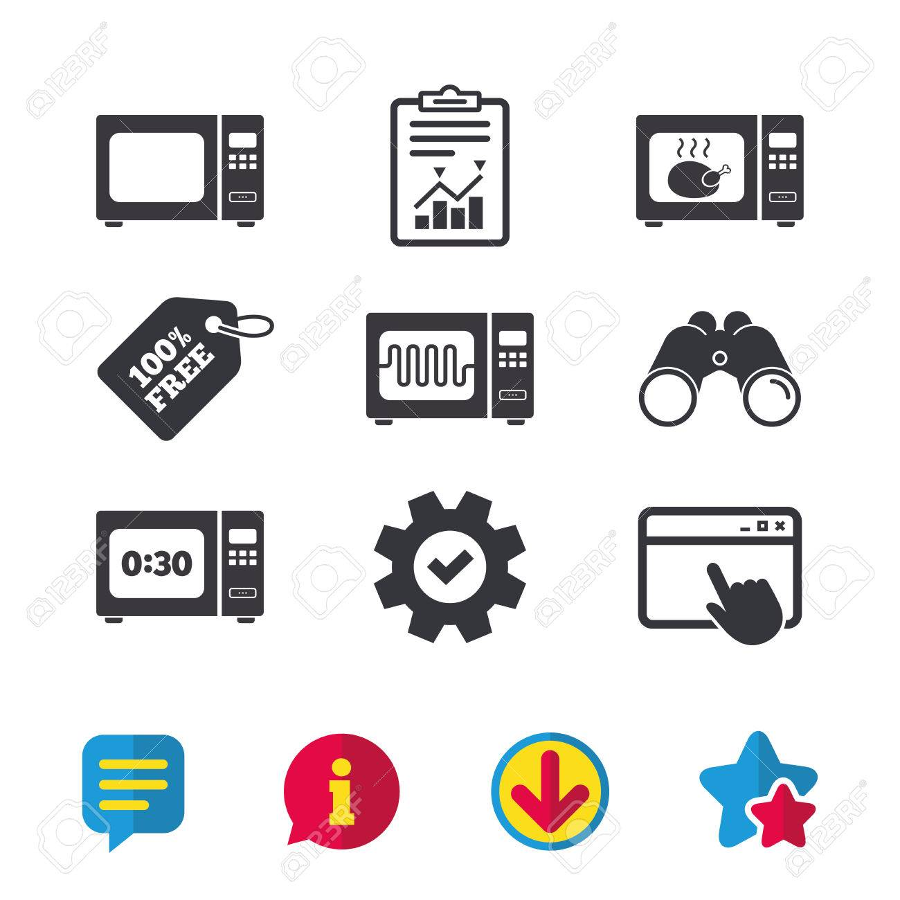 Microwave oven icons cook in electric stove symbols grill chicken microwave oven icons cook in electric stove symbols grill chicken with timer signs buycottarizona Image collections