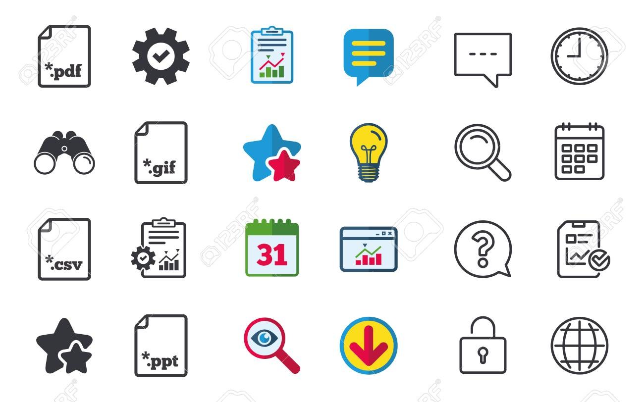 download document icons file extensions symbols pdf gif csv and