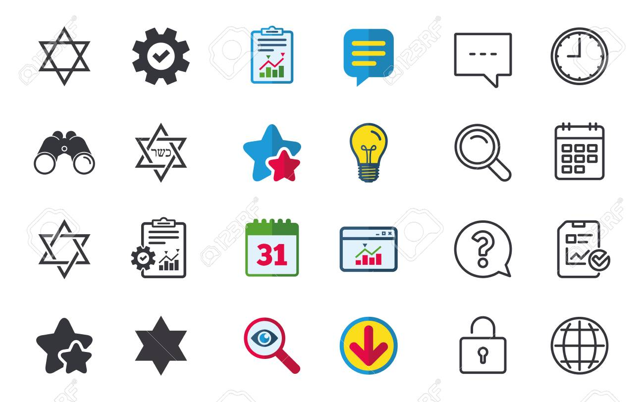 Star of David sign icons  Symbol of Israel  Chat, Report and