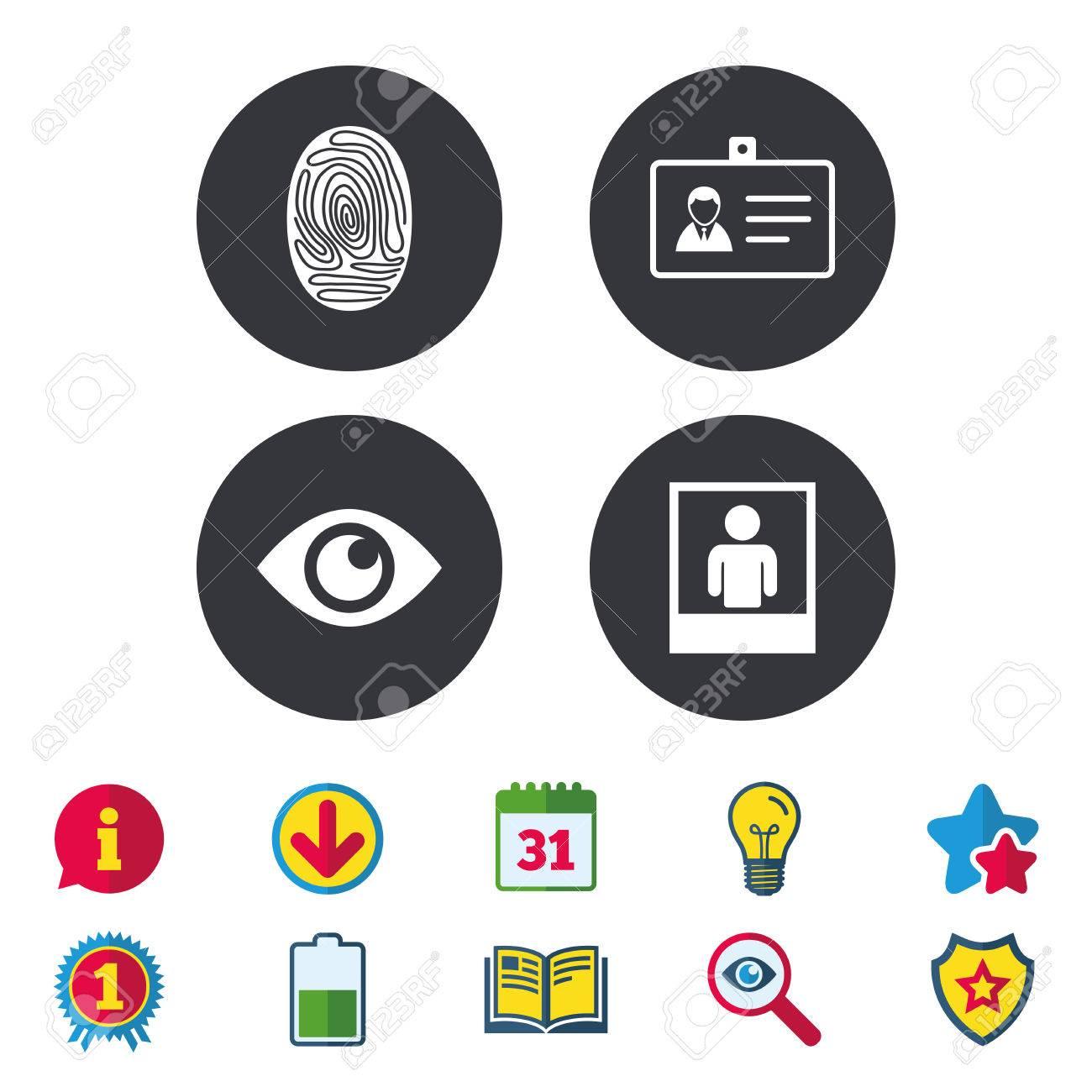 Identitäts-ID-Karten-Abzeichen-Icons. Augen- Und ...