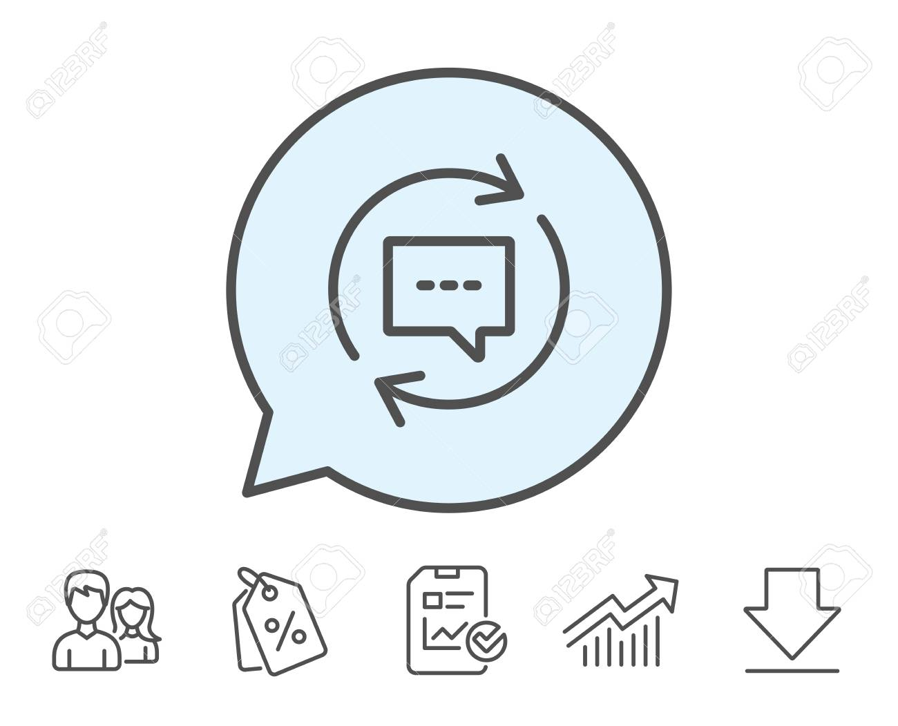 Update Comments Line Icon Chat Speech Bubble Sign Communication