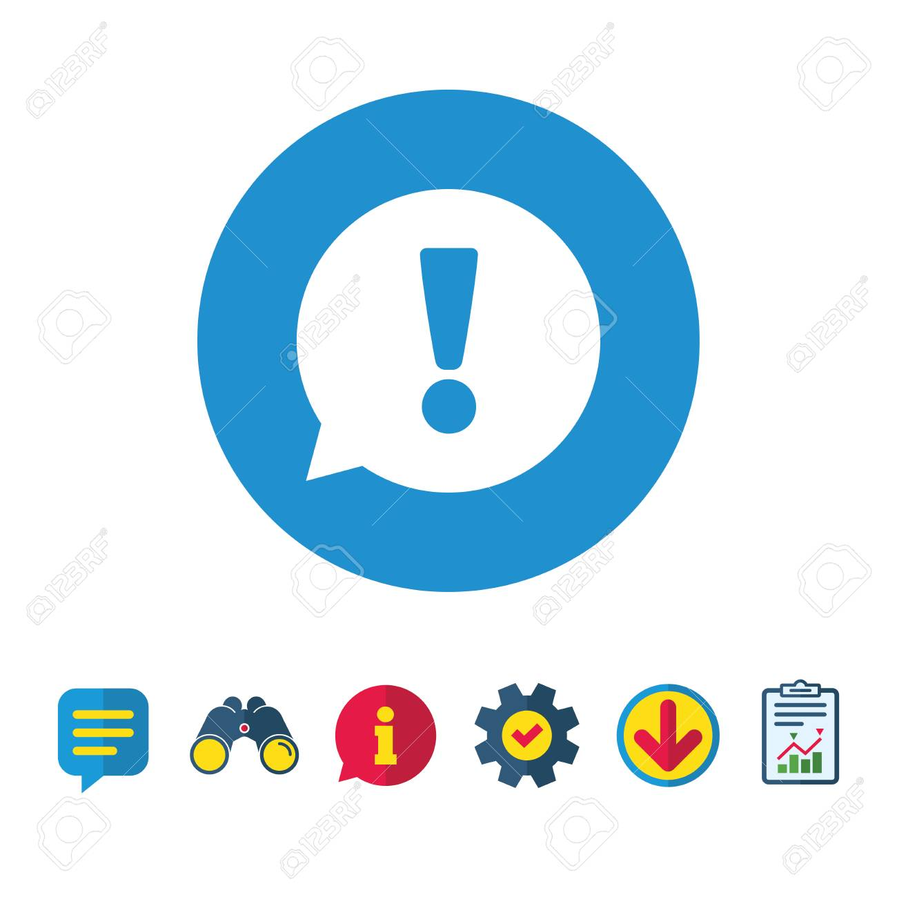 Exclamation mark sign icon attention speech bubble symbol exclamation mark sign icon attention speech bubble symbol information report and speech bubble biocorpaavc Image collections