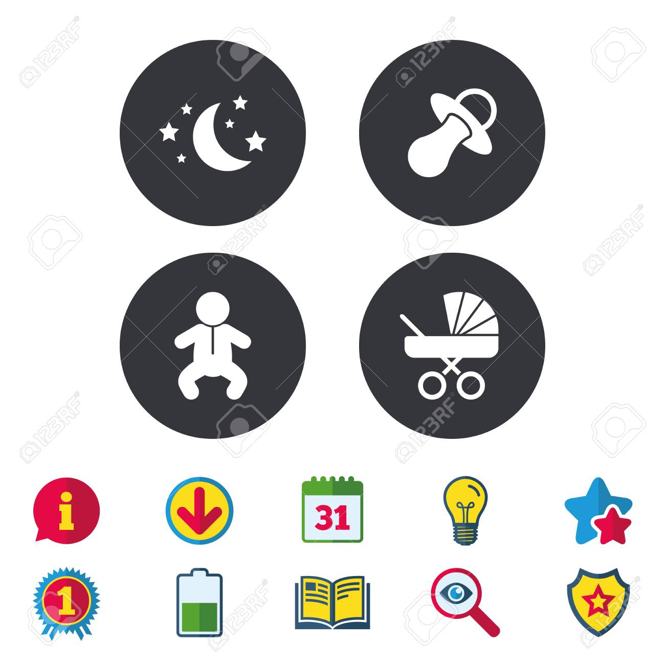 Moon And Stars Symbol Baby Infants Icon Buggy And Dummy Signs
