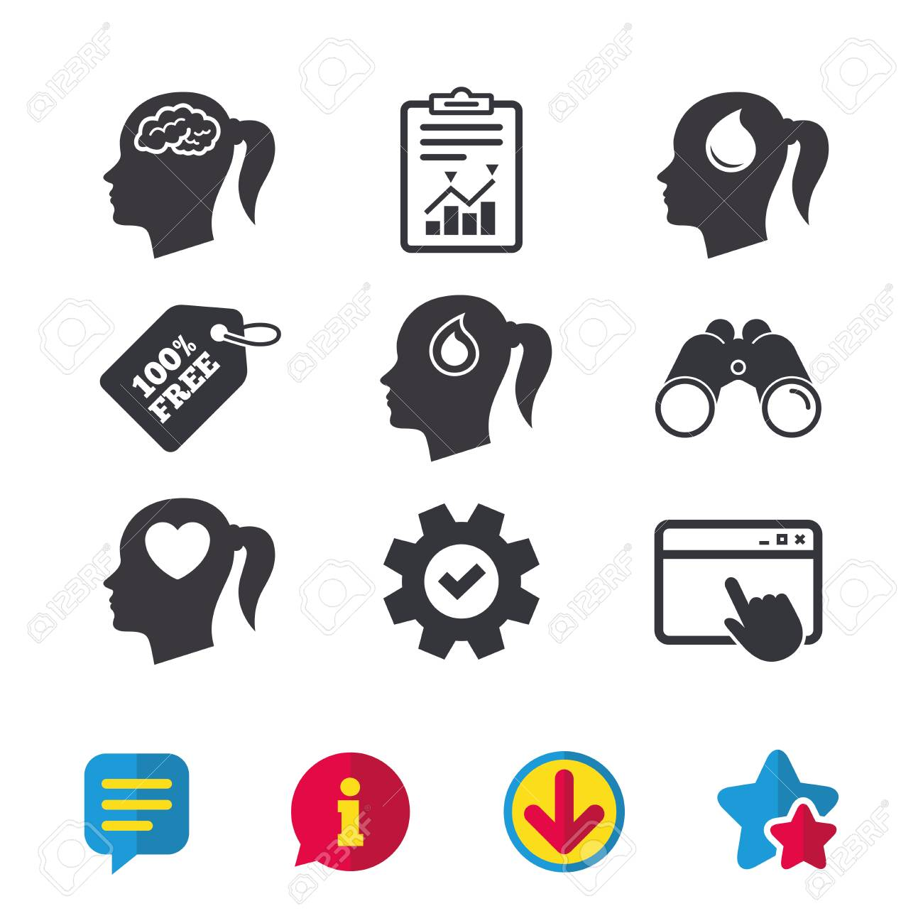 Head with brain icon female woman think symbols blood drop female woman think symbols blood drop donation signs love biocorpaavc