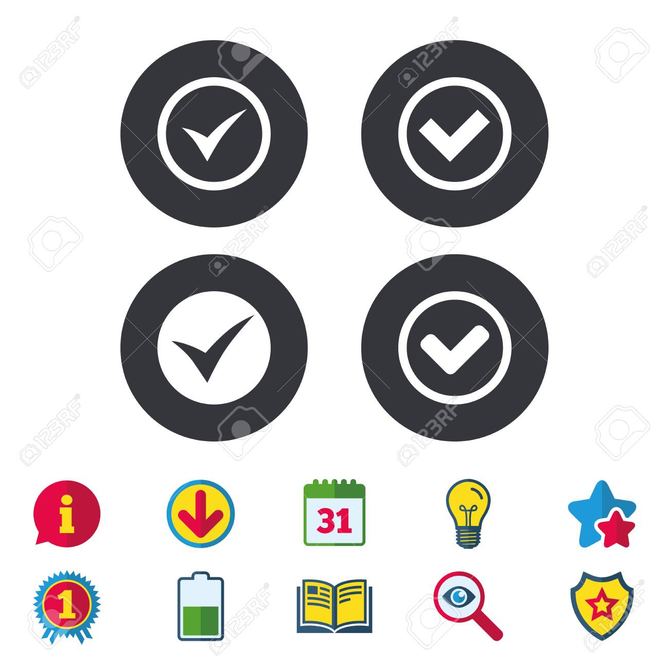 Check icons  Checkbox confirm circle sign symbols  Calendar,