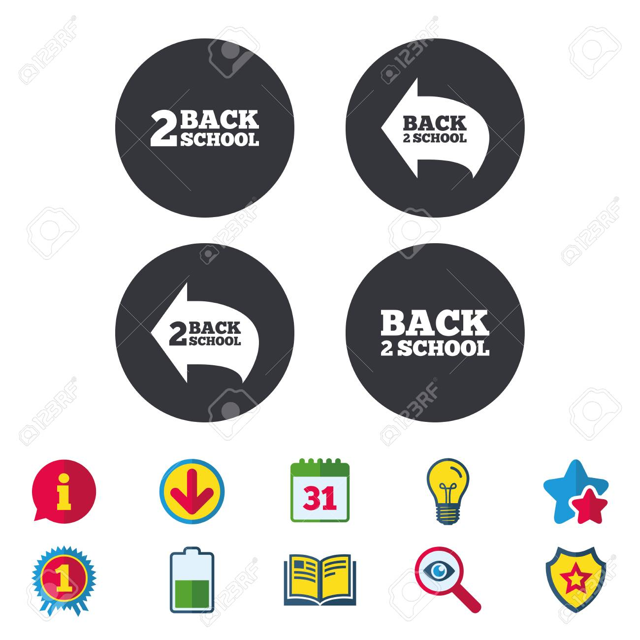Back to school icons studies after the holidays signs symbols back to school icons studies after the holidays signs symbols calendar information and buycottarizona Image collections