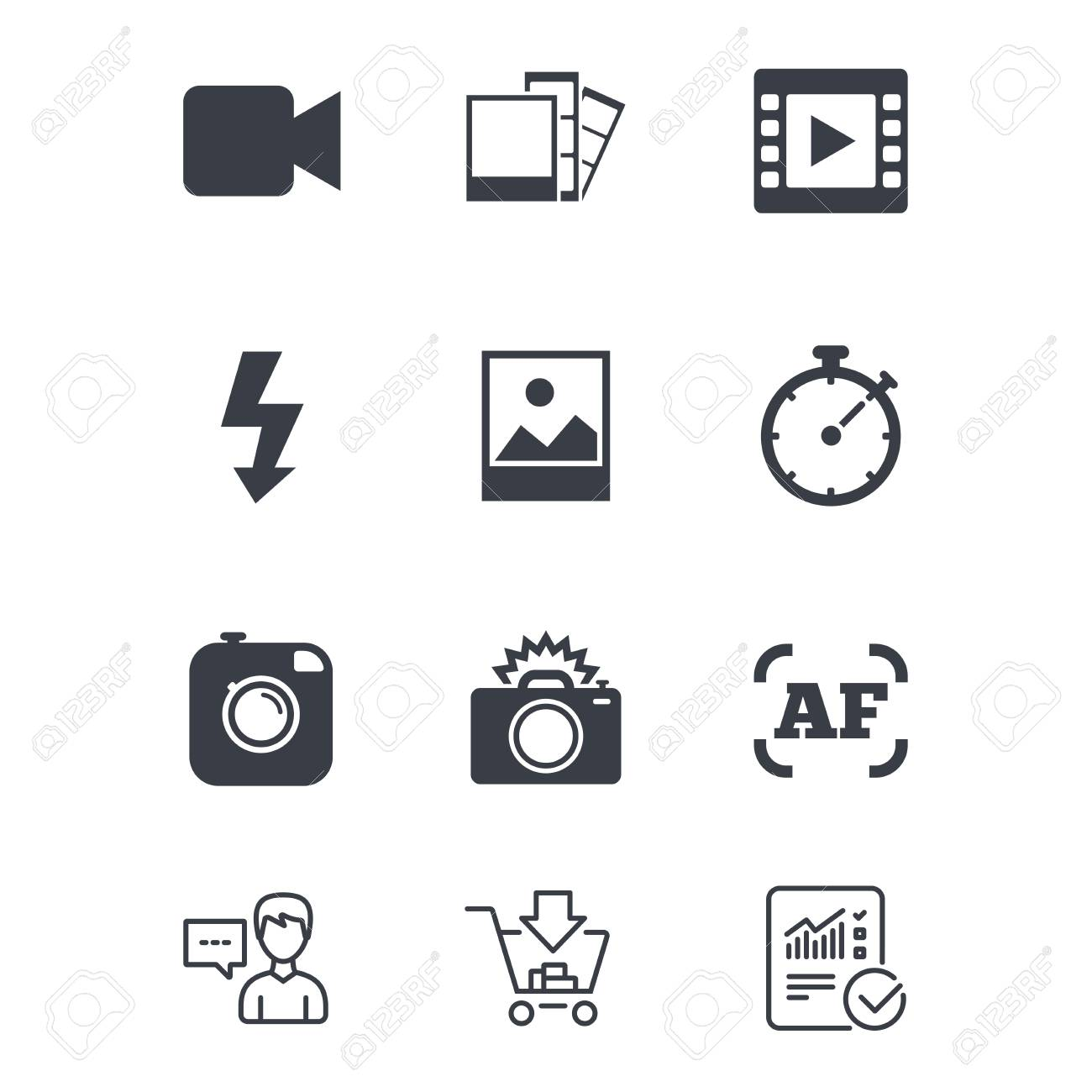 Photo, Video Icons. Camera, Photos And Frame Signs. Flash, Timer ...