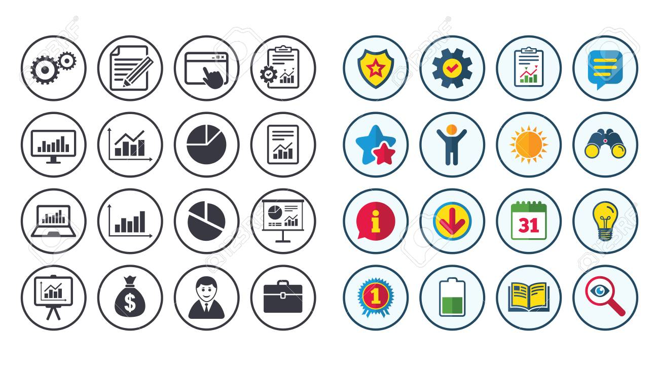 Set of statistics accounting and report icons charts presentation set of statistics accounting and report icons charts presentation and pie chart geenschuldenfo Choice Image