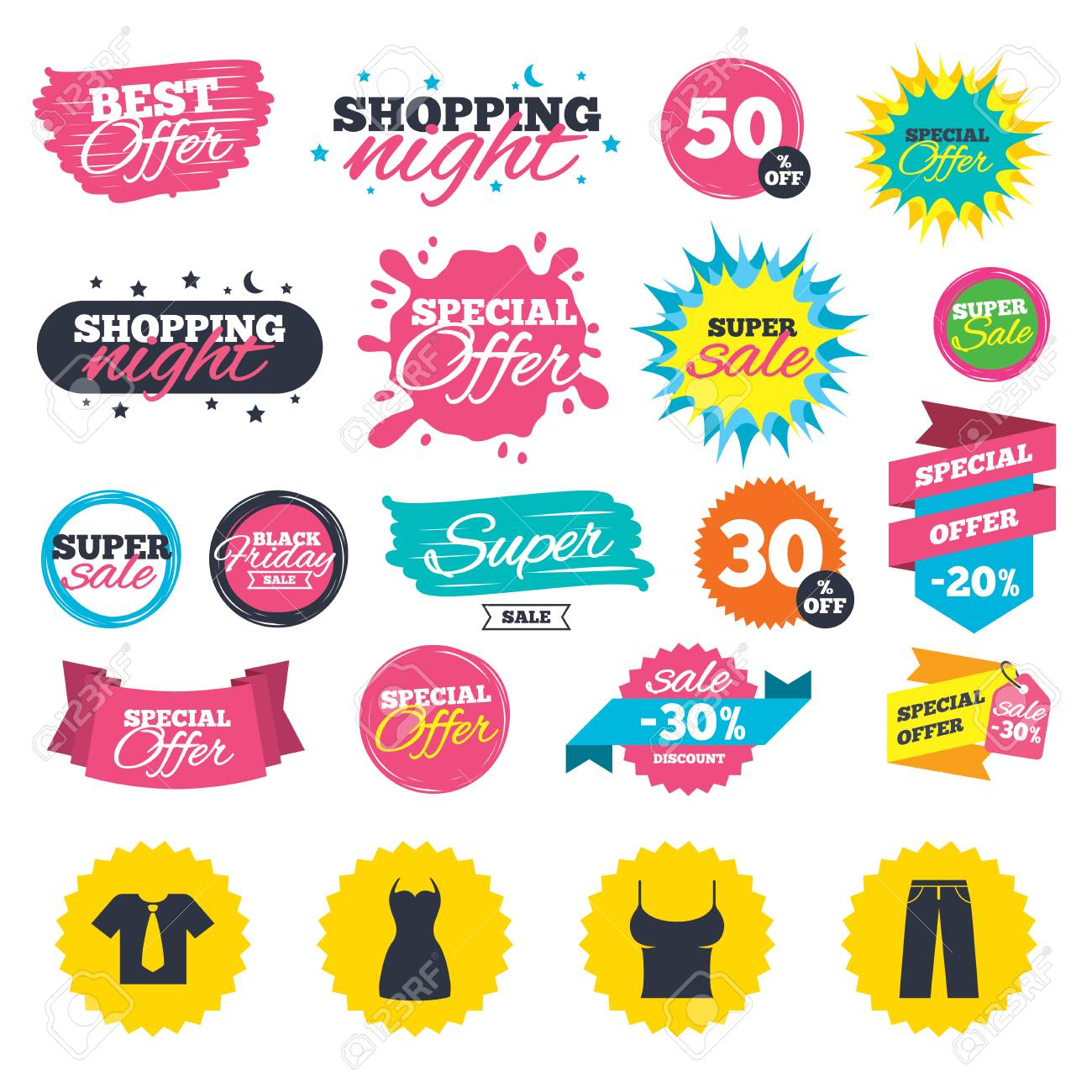 Sale shopping banners. Clothes icons. T shirt with business tie..
