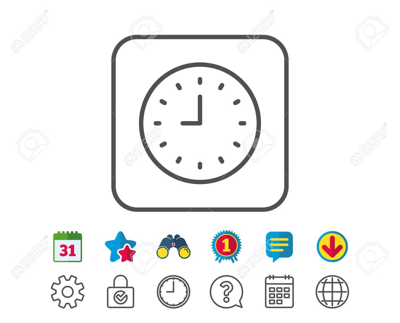 76fe6ea0572e Icono De Línea De Reloj. Signo De Tiempo Reloj De Office O Símbolo Del  Temporizador. Signos De Línea De Calendario