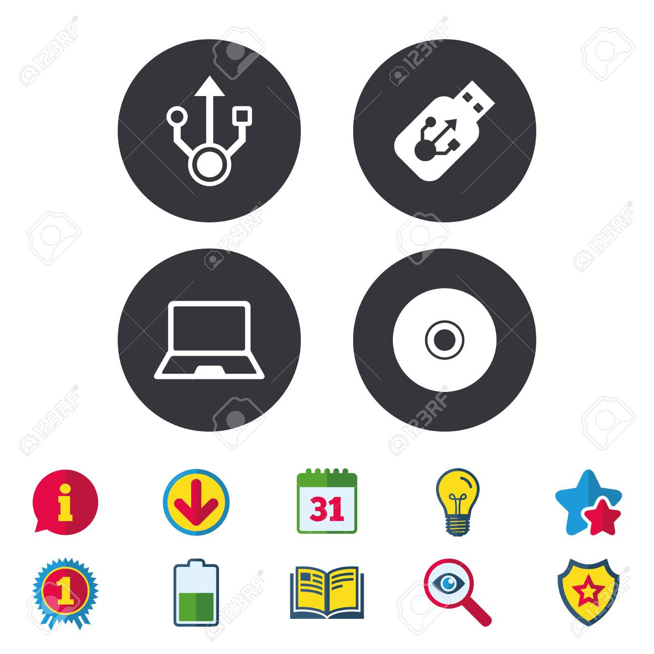 Usb flash drive icons  Notebook or Laptop pc symbols  CD or DVD