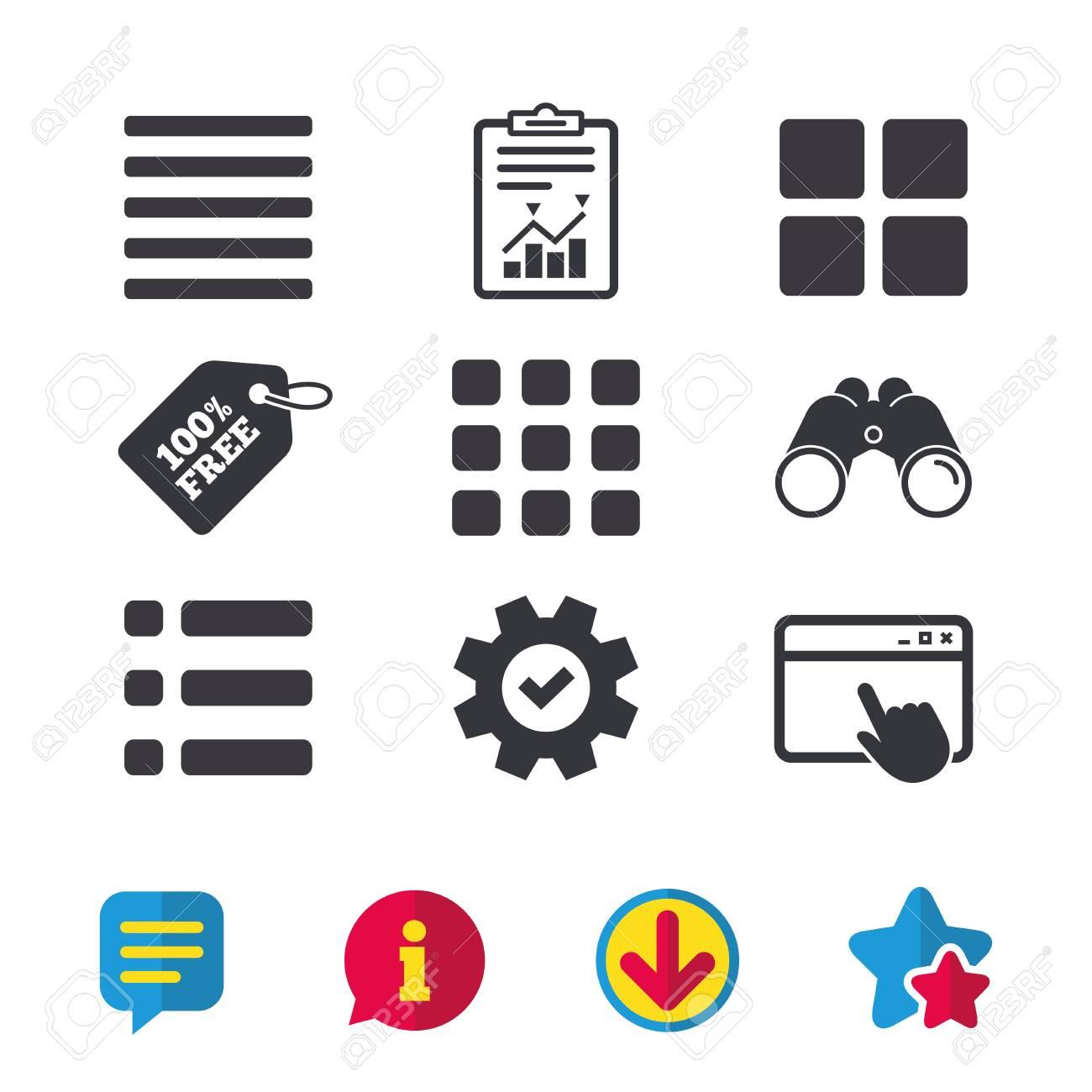 List Menu Icons Content View Options Symbols Thumbnails Grid