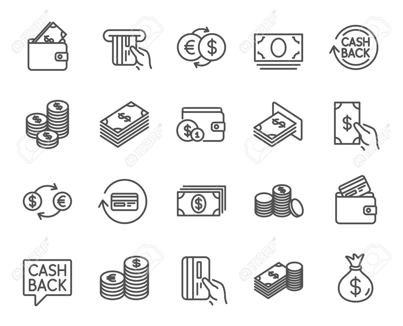 Money line icons. Set of Banking, Wallet and Coins signs. Credit card, Currency exchange and Cashback service. Euro and Dollar symbols. Quality design elements. Editable stroke. Vector - 83365880