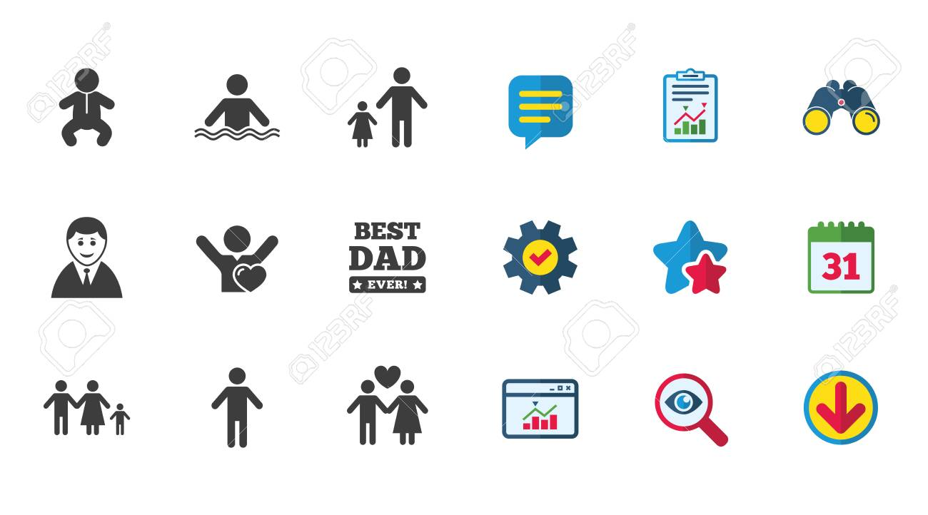People Family Icons Swimming Pool Love And Children Signs