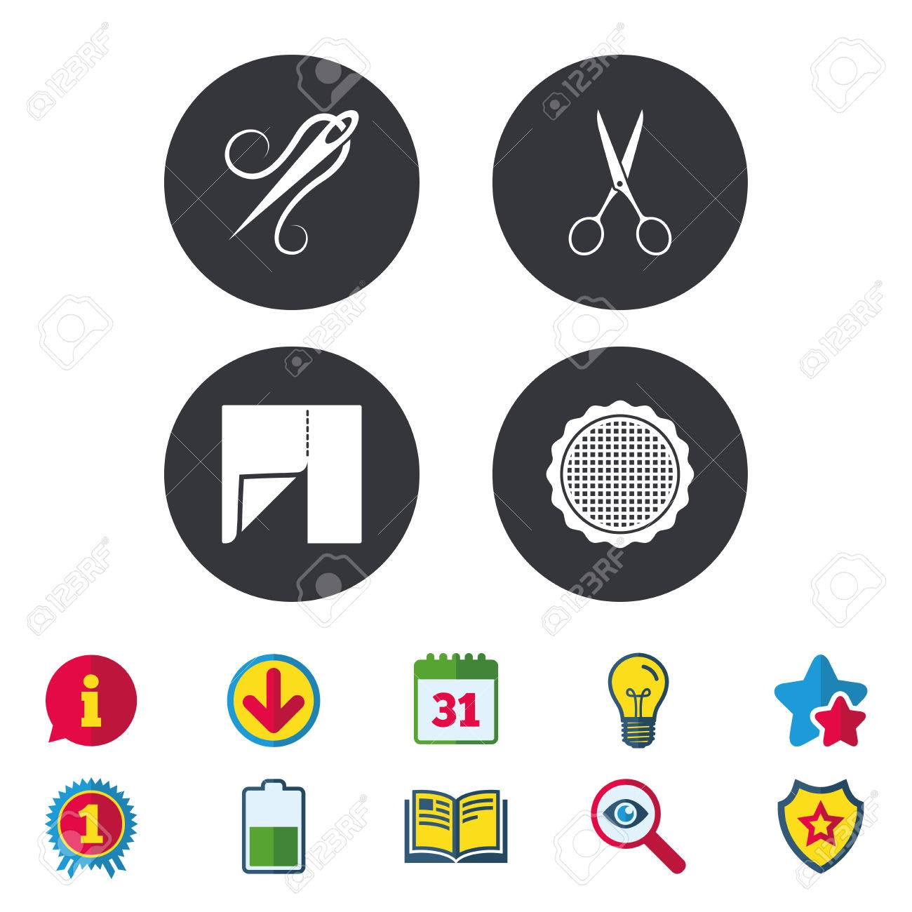 Textile cloth piece icon scissors hairdresser symbol needle textile cloth piece icon scissors hairdresser symbol needle with thread tailor symbol biocorpaavc