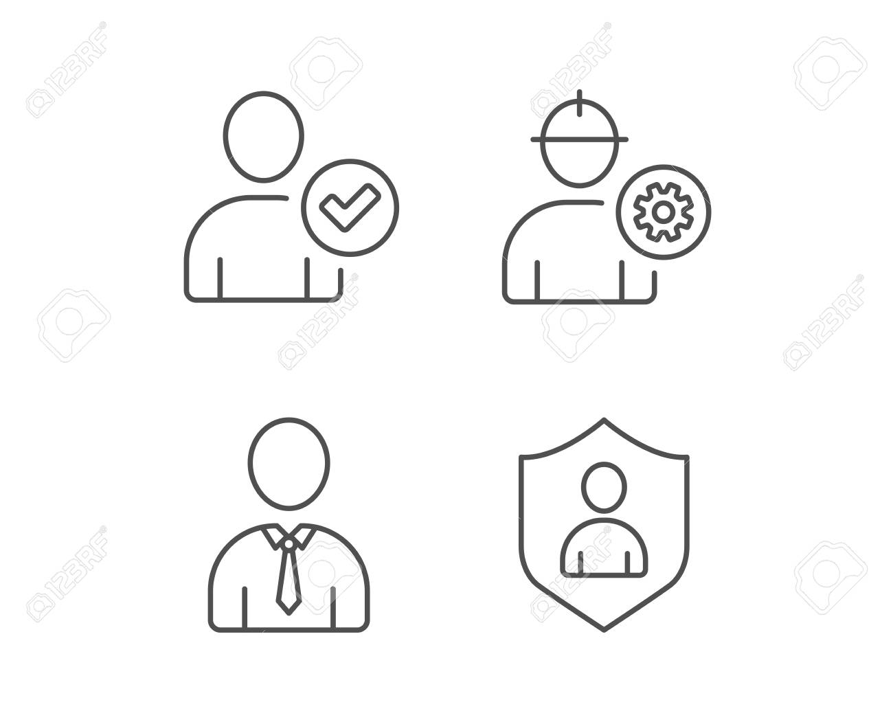 Check User, Engineer and Businessman line icons  Security Shield