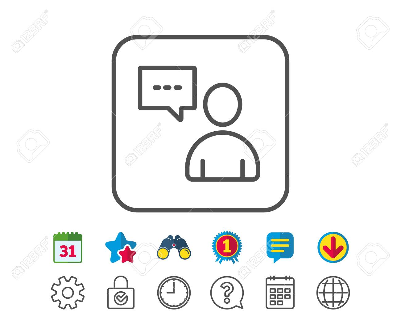 User Communication Line Icon Person With Chat Speech Bubble