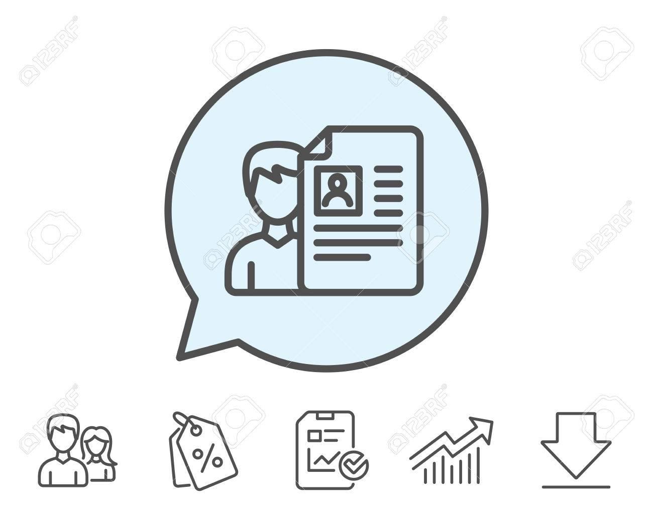 Business Recruitment Line Icon. CV Documents Or Portfolio Sign ...