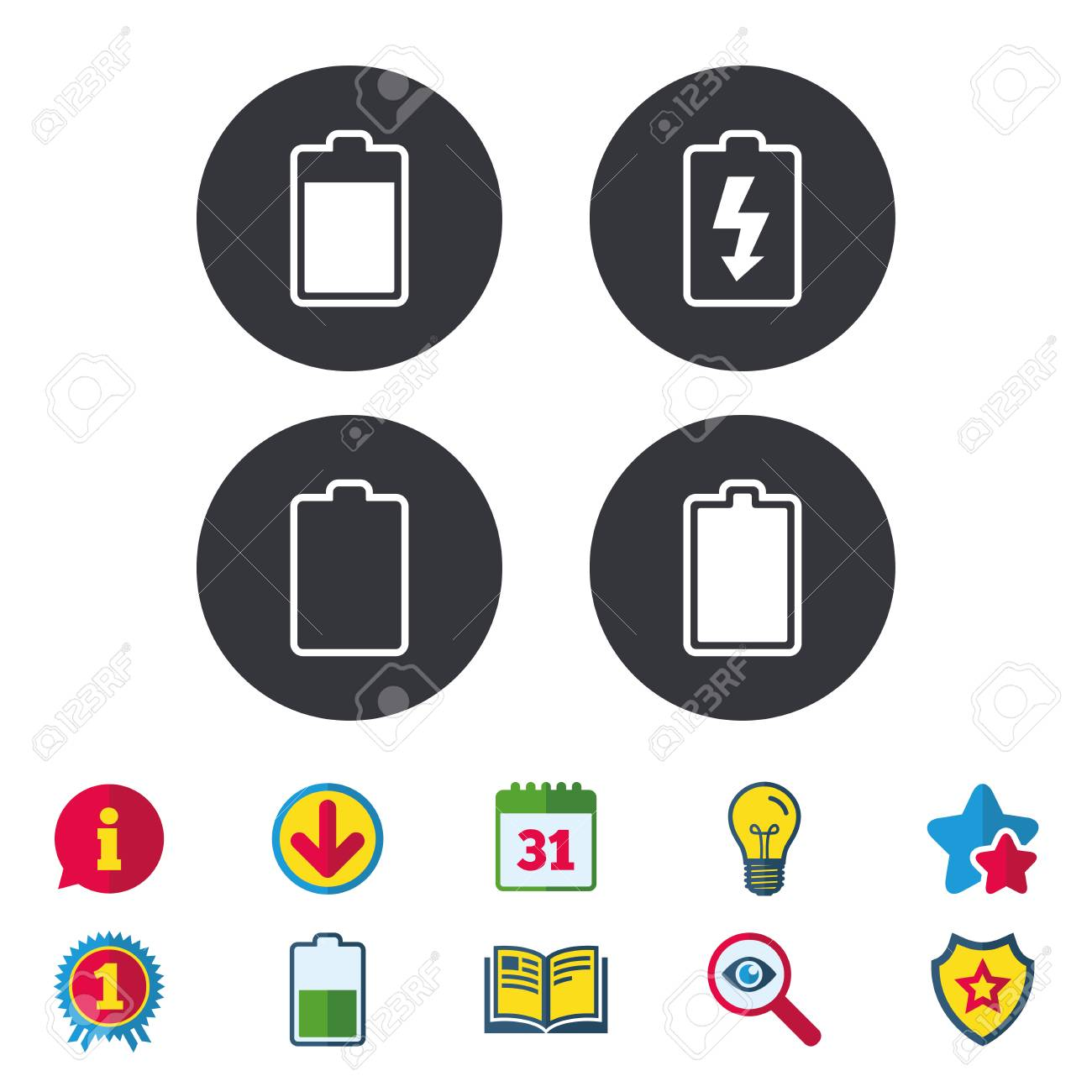 Battery charging icons electricity signs symbols charge levels electricity signs symbols charge levels full empty calendar buycottarizona Choice Image