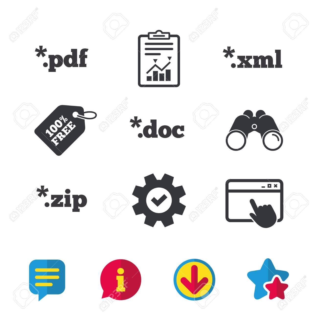 Document icons  File extensions symbols  PDF, ZIP zipped, XML