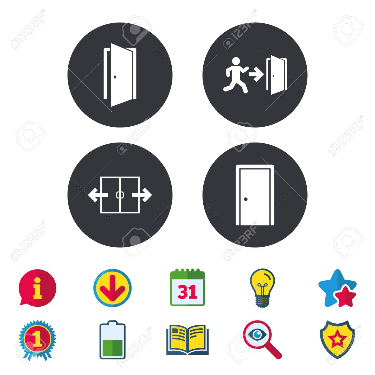 Automatic Door Icon Emergency Exit With Human Figure And Arrow