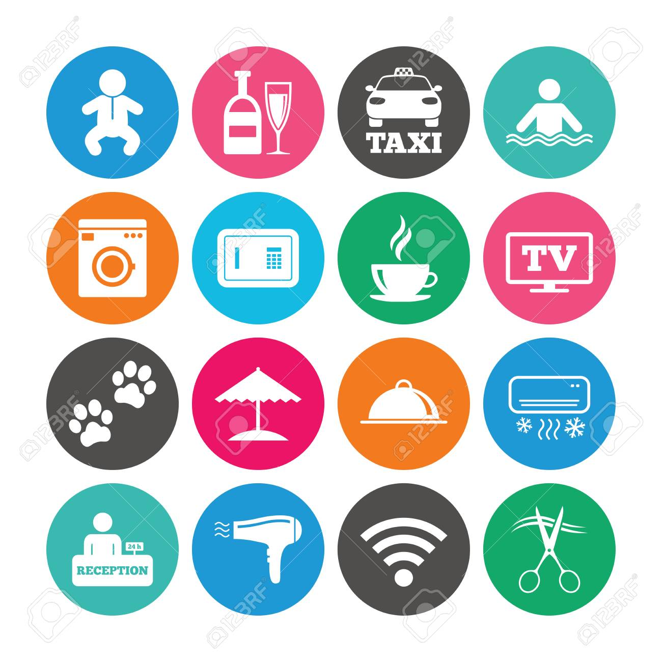Set of Hotel services icons. Taxi, Wifi internet and Swimming..