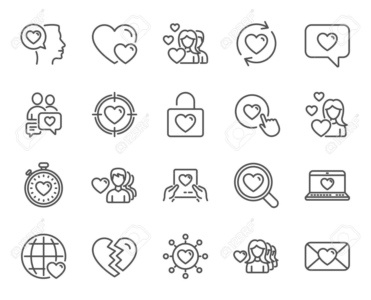 Love Line Icons Couple Romantic And Heart Signs Valentines