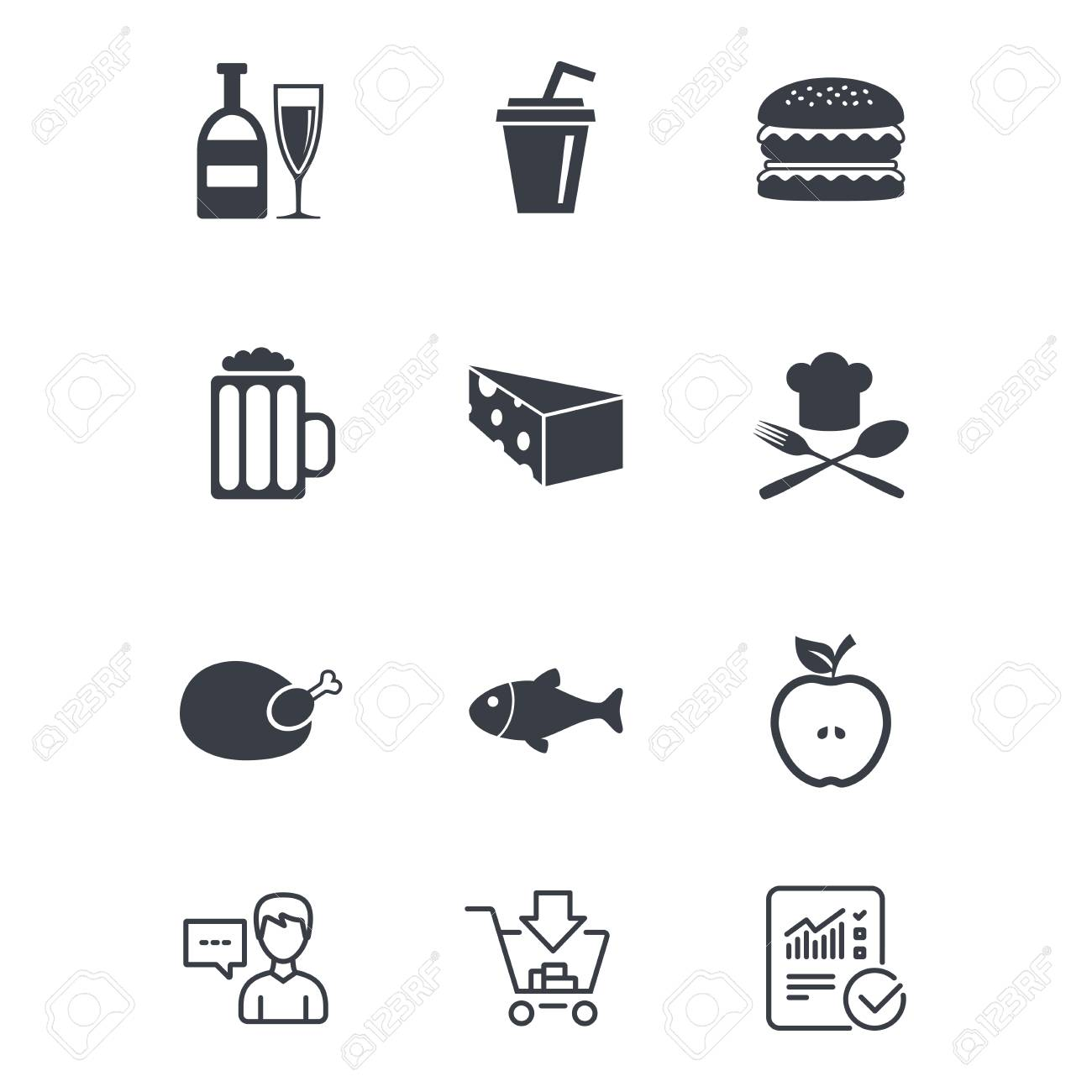 Food, drink icons  Beer, fish and burger signs  Chicken, cheese