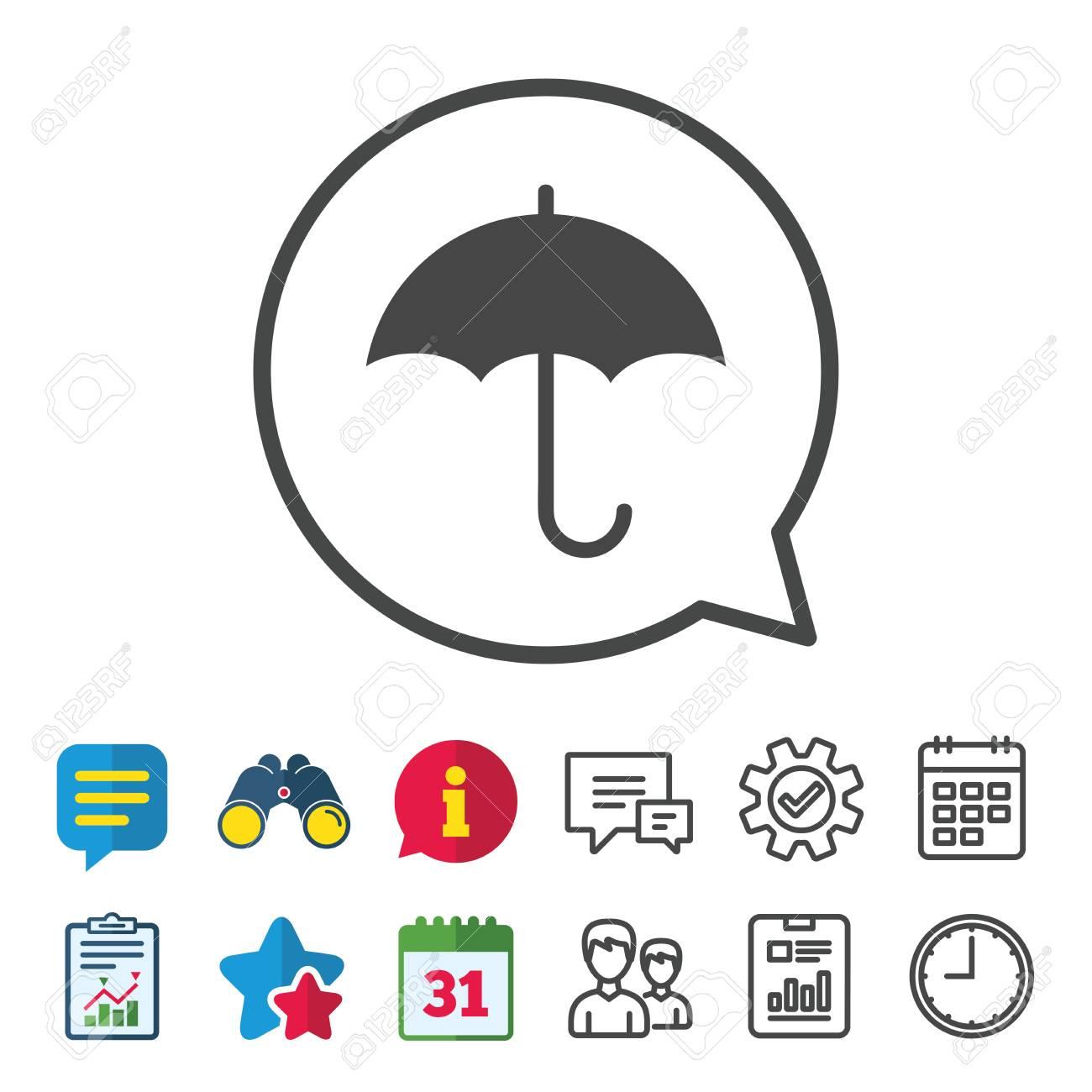 Umbrella Sign Icon Rain Protection Symbol Information Report