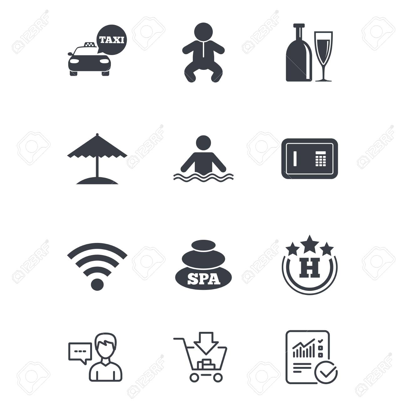 Hotel, apartment service icons. Spa, swimming pool signs. Alcohol..