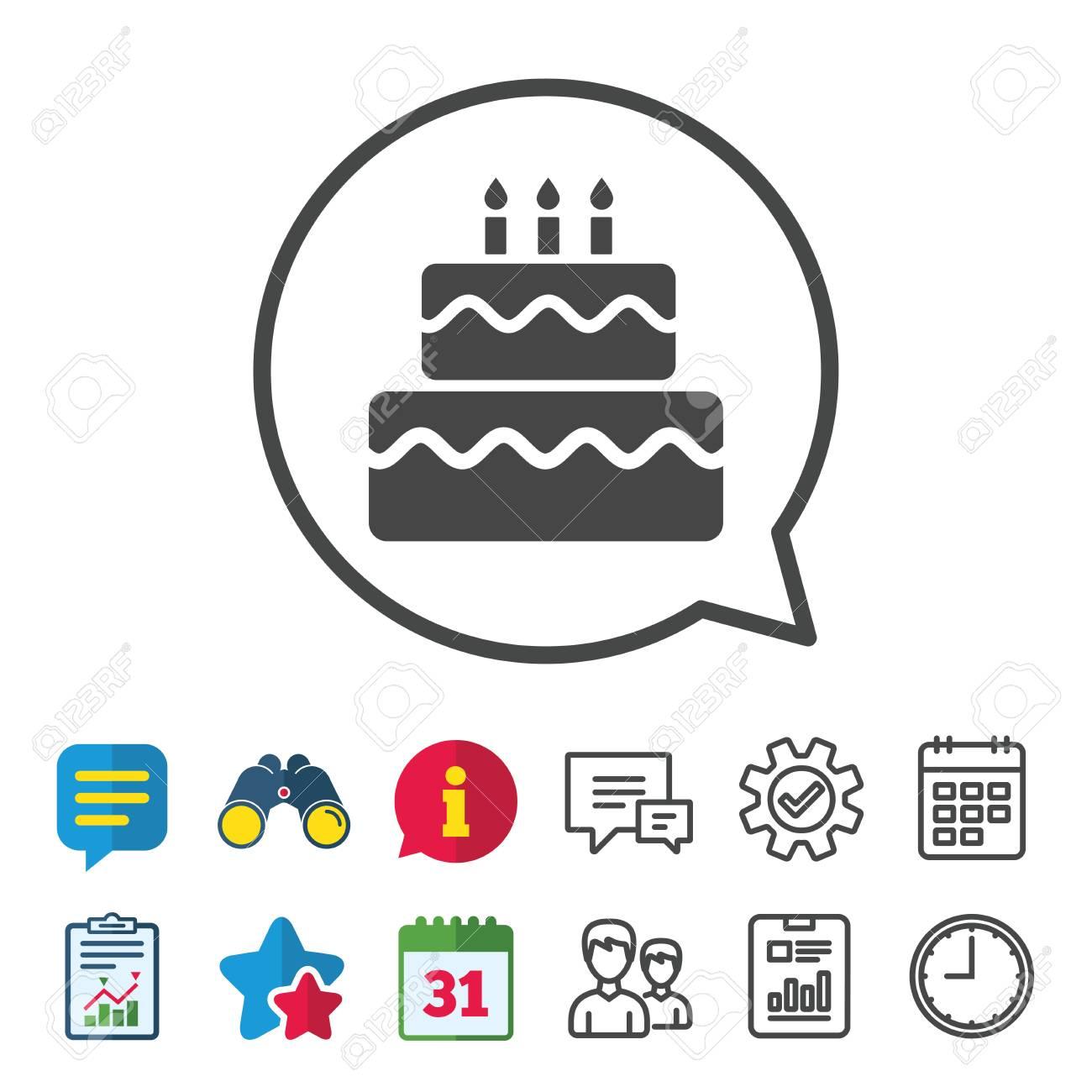 Birthday Cake Sign Icon Cake With Burning Candles Symbol