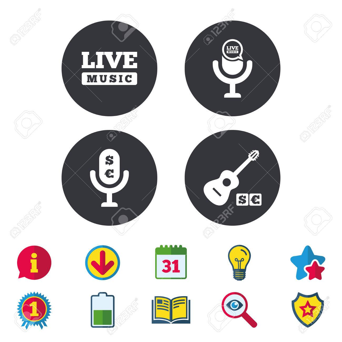 Musical elements icons  Microphone and Live music symbols  Paid