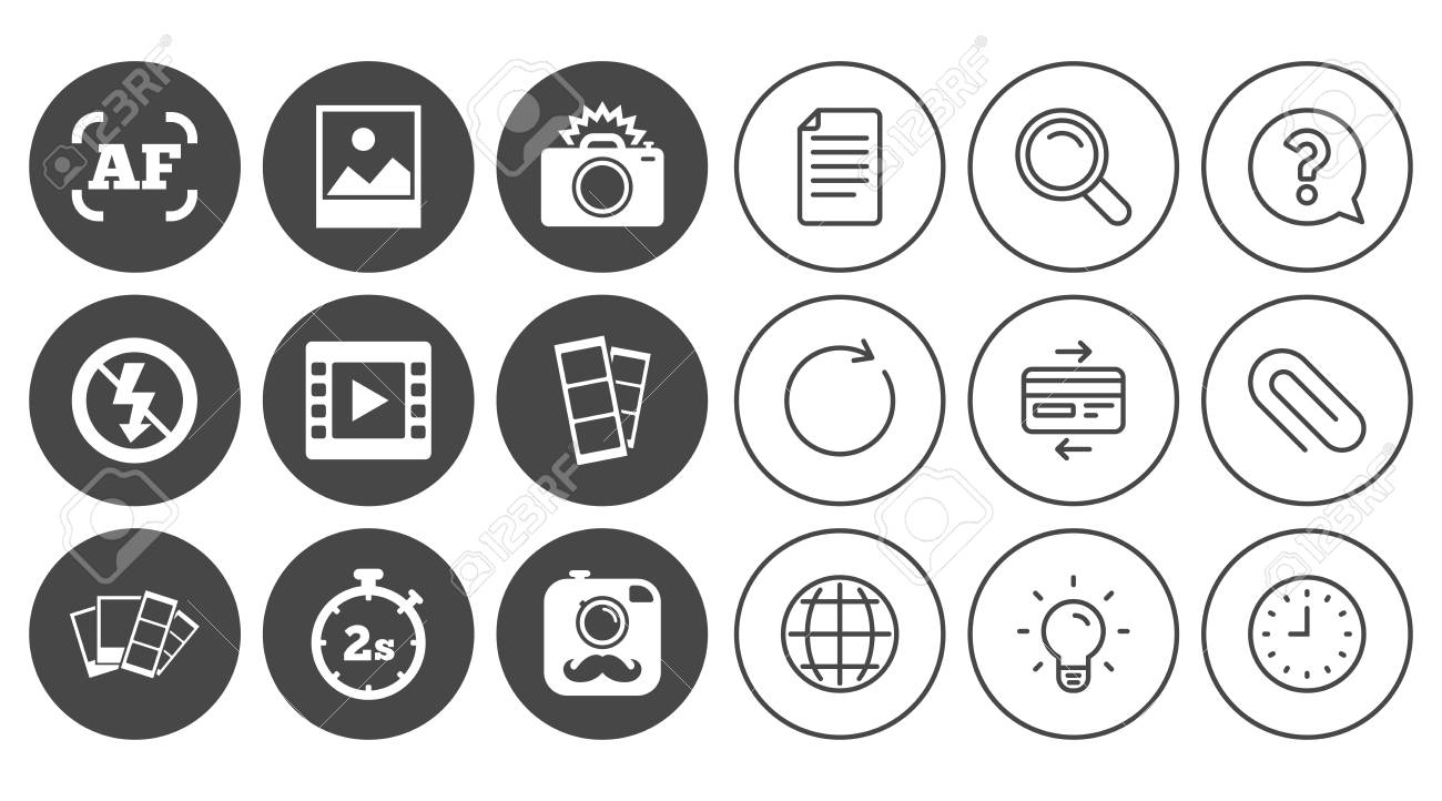 Photo, video icons  Camera, photos and frame signs  No flash,