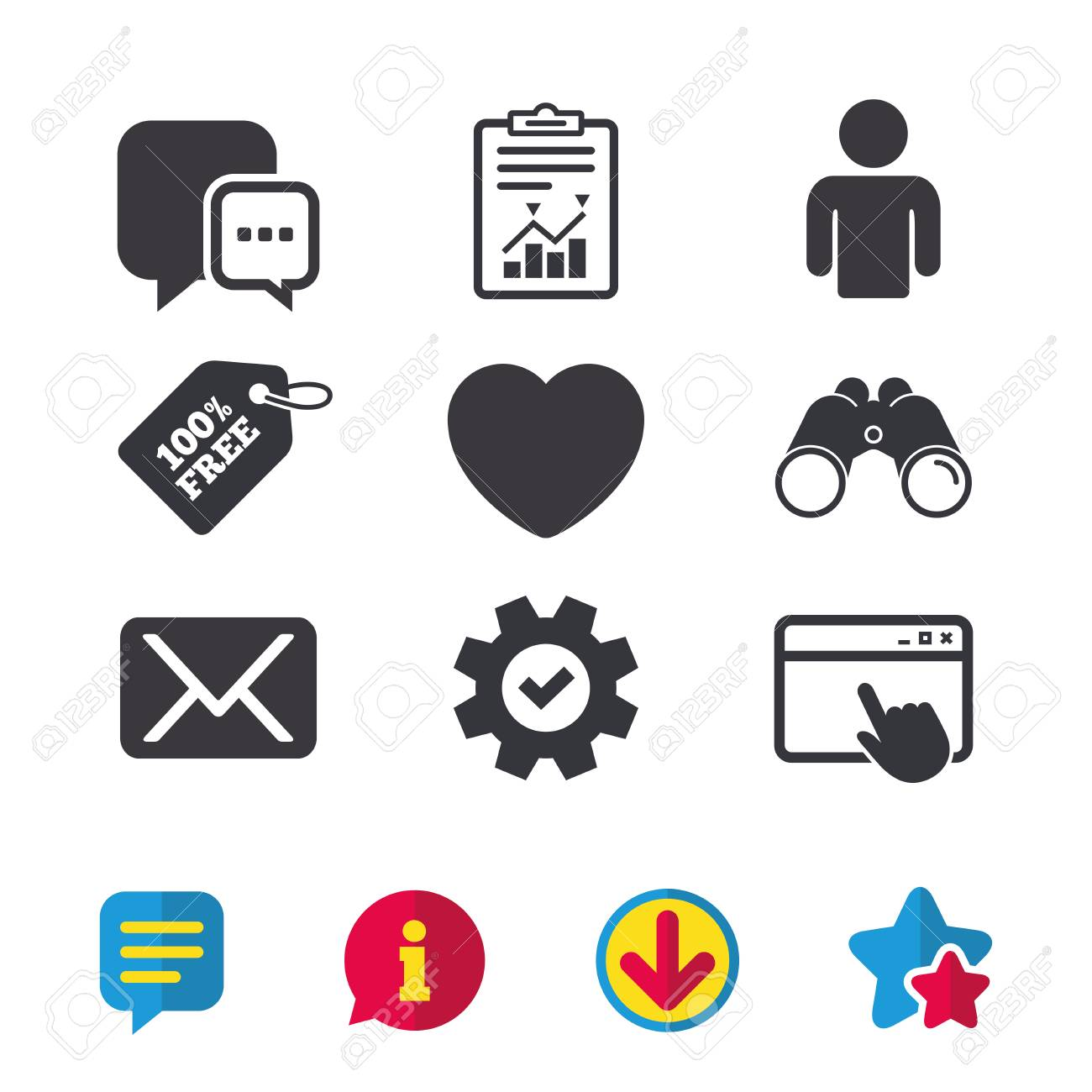 Social media icons  Chat speech bubble and Mail messages symbols