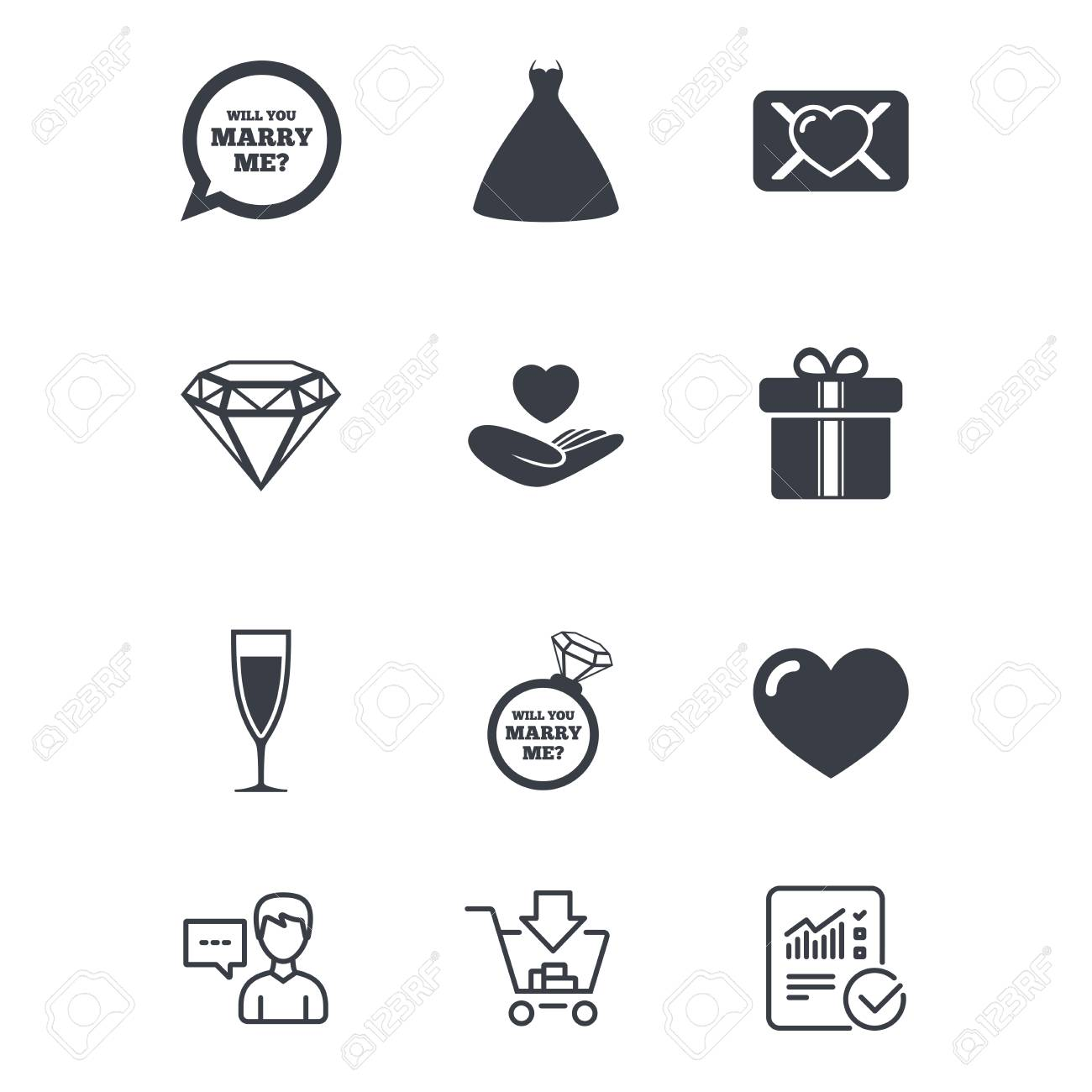 Wedding, engagement icons  Love oath letter, gift box and brilliant