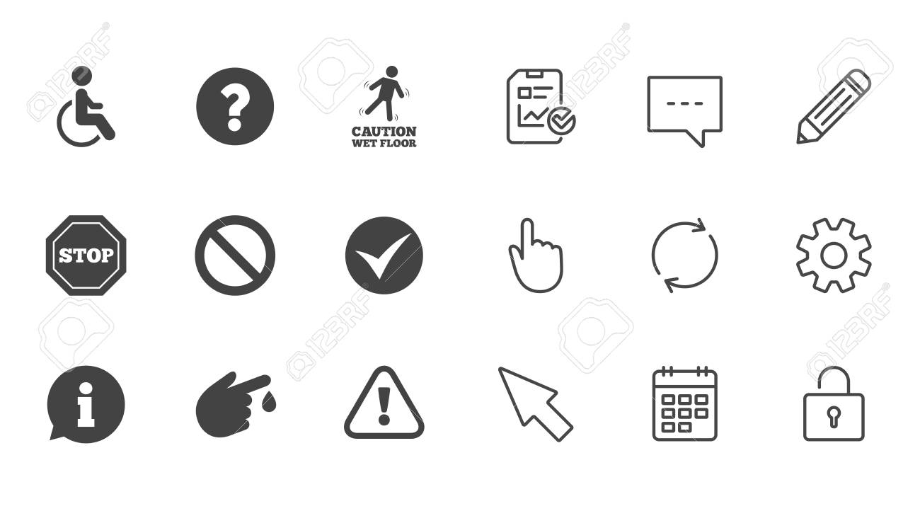 Attention caution icons question mark and information signs question mark and information signs injury and disabled person symbols biocorpaavc Image collections