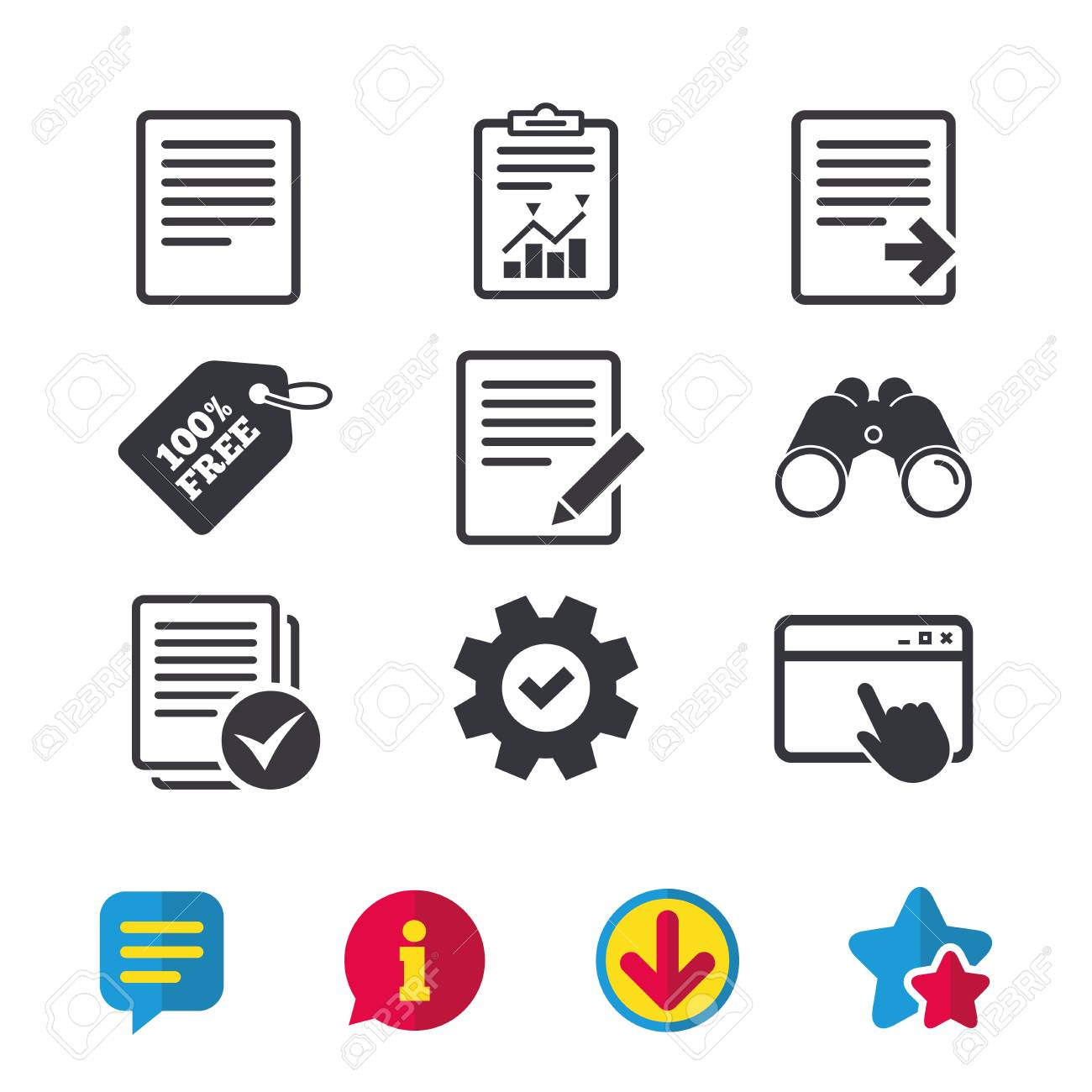File document icons  Download file symbol  Edit content with