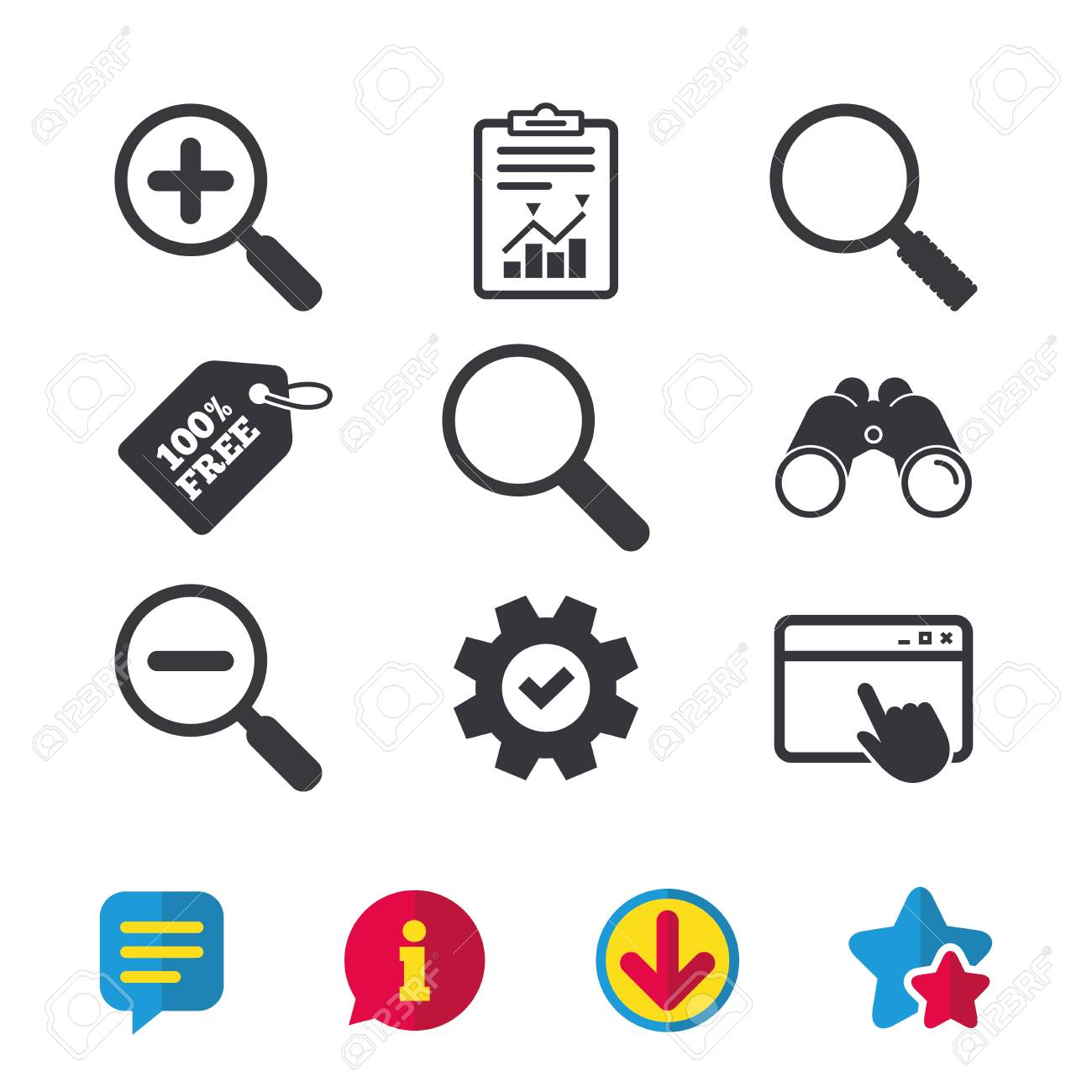 Search stock symbols gallery meaning of this symbol magnifier glass icons plus and minus zoom tool symbols search urtaz Image collections