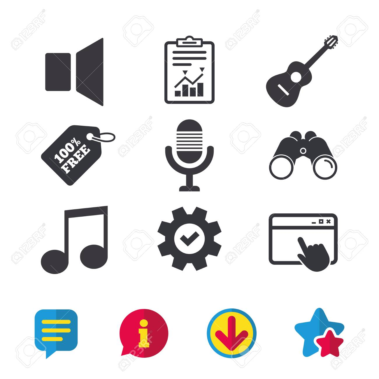 Musical elements icons  Microphone and Sound speaker symbols