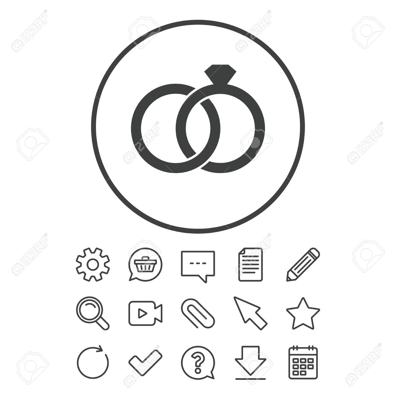Wedding Rings Sign Icon Engagement Symbol Document Chat And